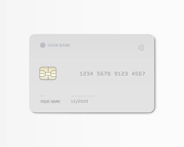 пустой серый пластиковый макет кредитной или дебетовой карты спереди. векторная иллюстрация. - credit card stock illustrations