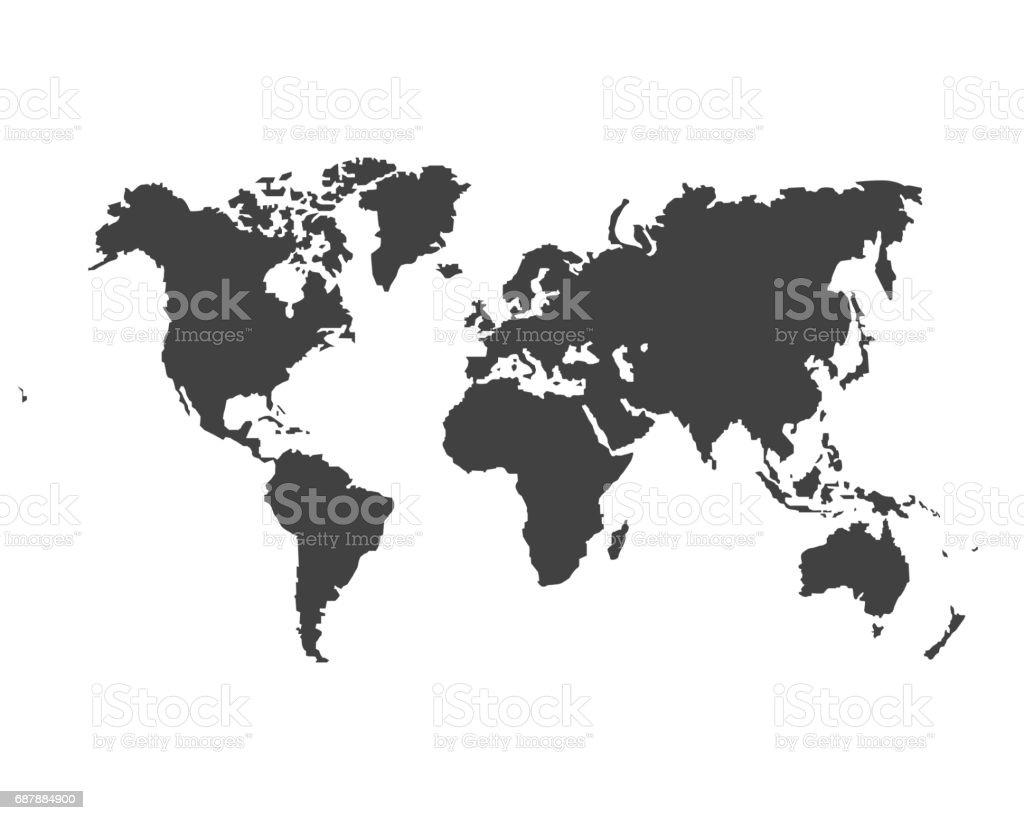 Blank Grey similar World map isolated on white background. vector art illustration