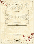A blank Halloween invitation flyer with skulls and blood stains. Extra folder includes Illustrator CS2 AI and PDF files.
