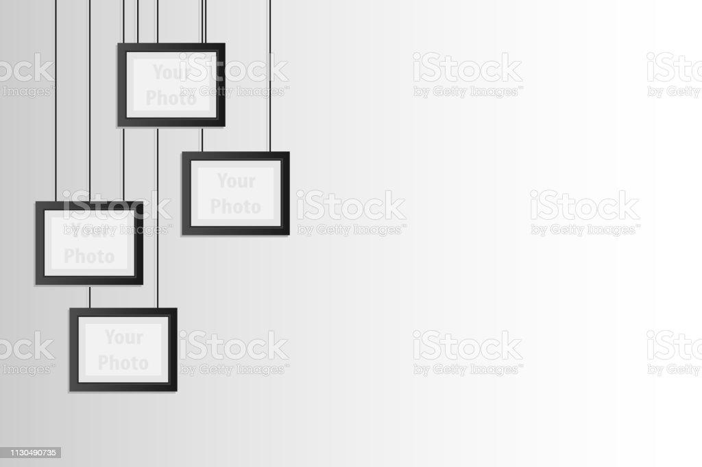 Blank hanging frames. Vector 3d blank black hanging frames. Pictures,...