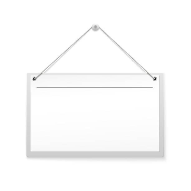 leere hängen übrigens zeichen isoliert auf weißem hintergrund. realistische leeren leinwand, banner für werbung, bereit für ihr design oder ihre kreativität - nagelplatte stock-grafiken, -clipart, -cartoons und -symbole