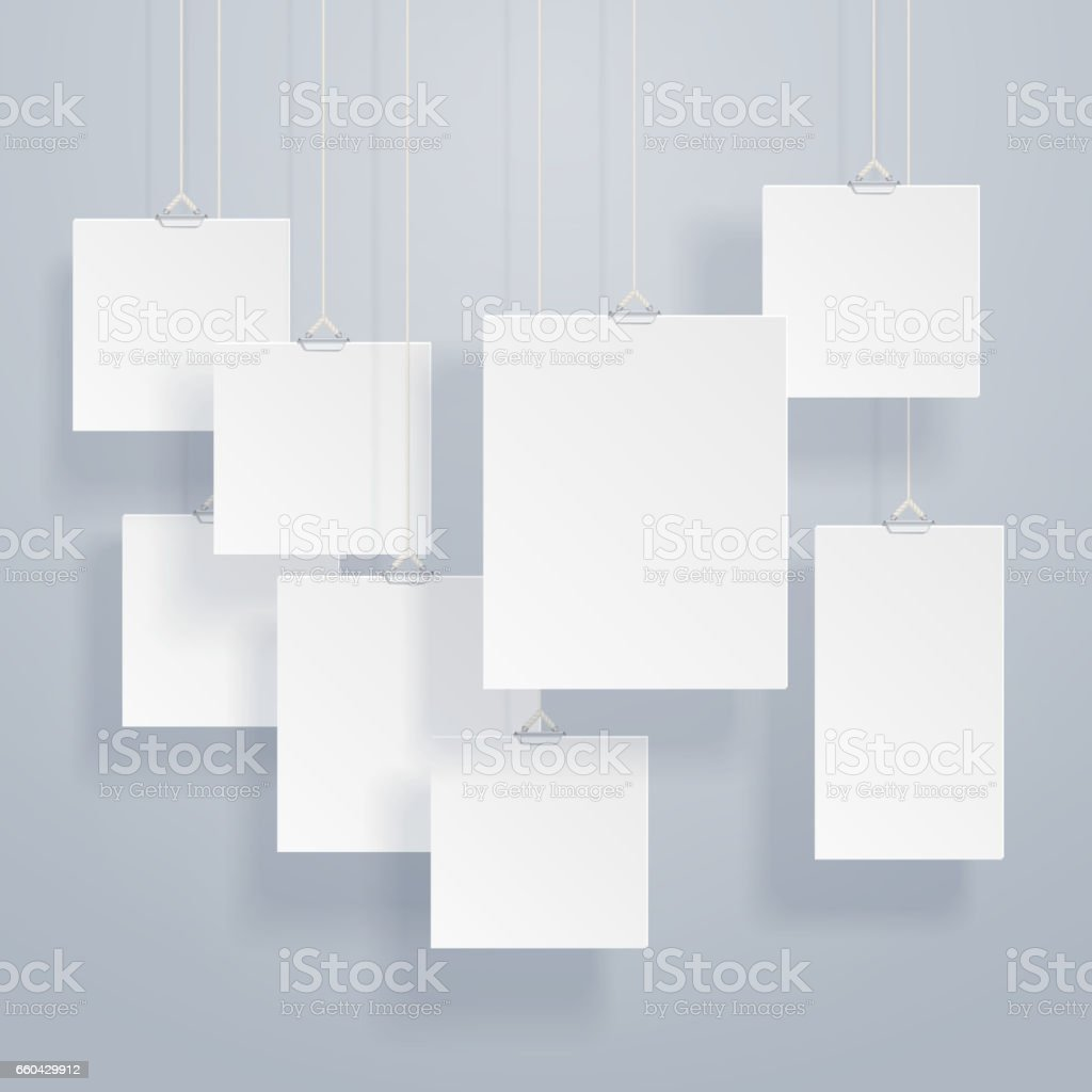 Blank Hanging Photo Frames Or Poster Templates With Drop Shadows On ...