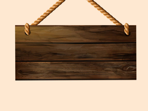 blank hanging wood plank sign - transparent stock illustrations