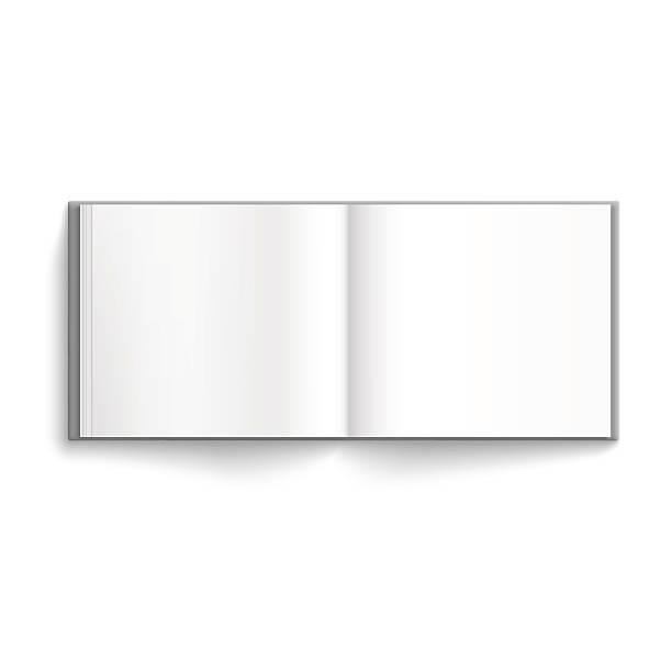 Blank hardcover album Blank hardcover album template opened on white background photo album stock illustrations