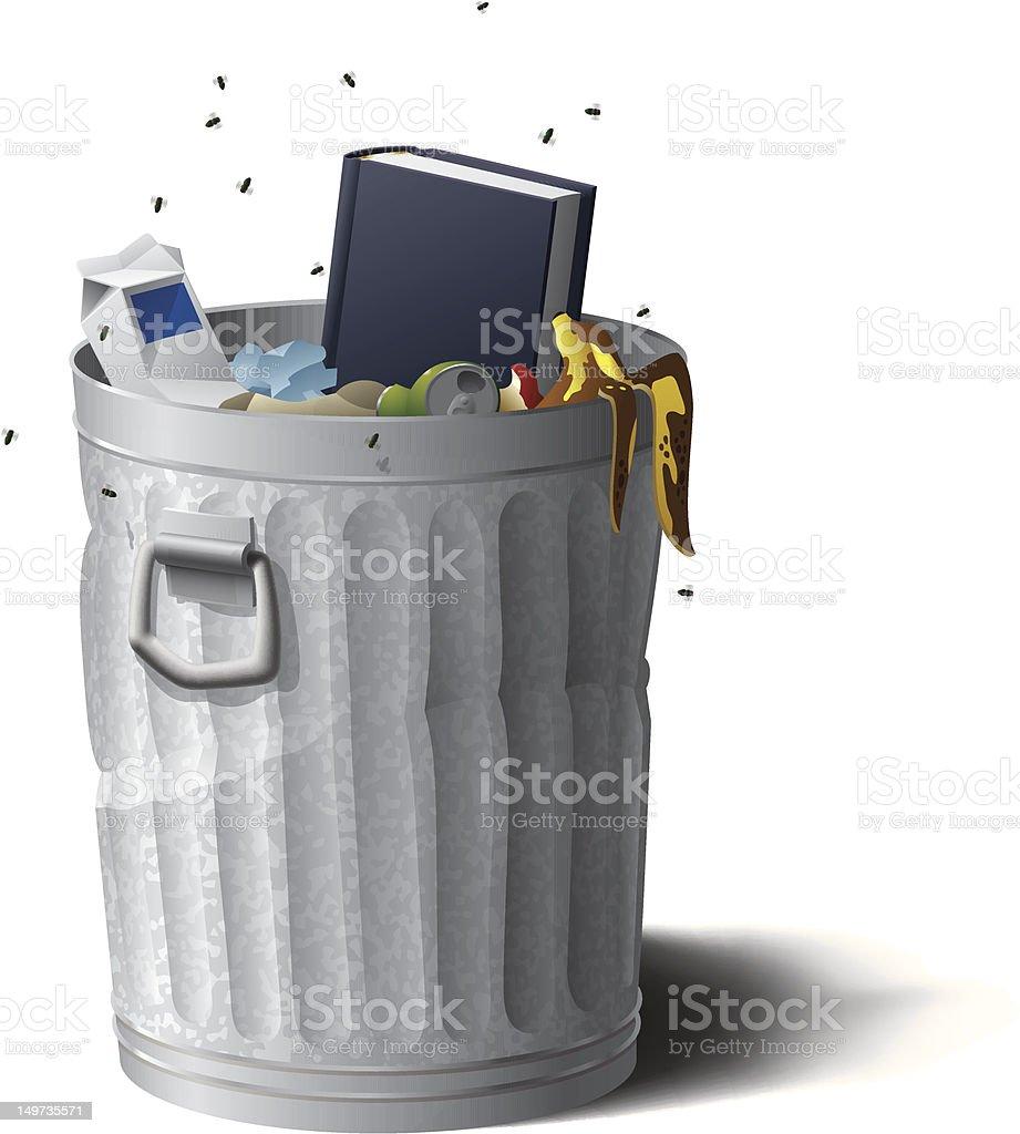 Blank Hardcover Book in Trash vector art illustration