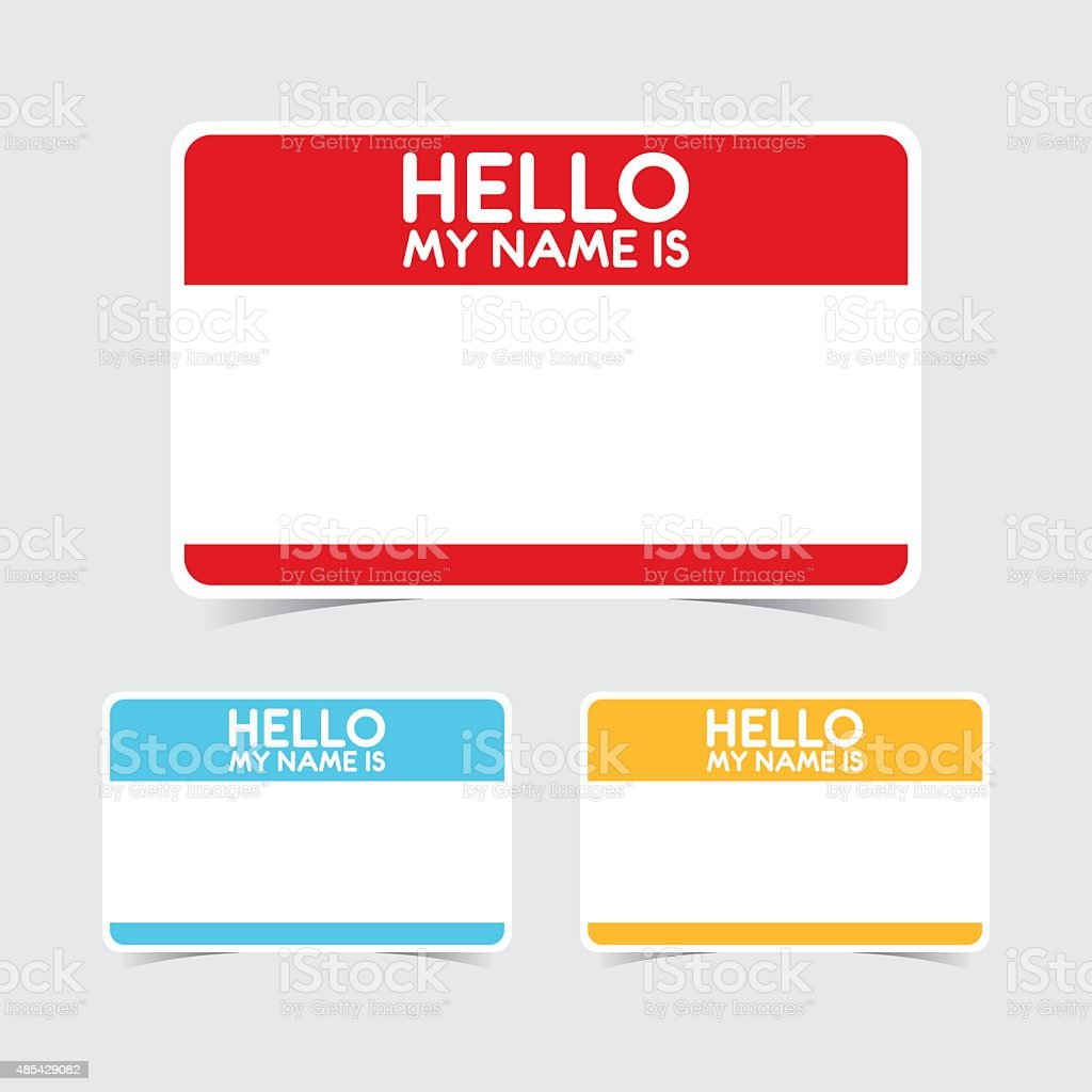 Blank Hello My Name Is Name Tag Stickers Stock Vector Art