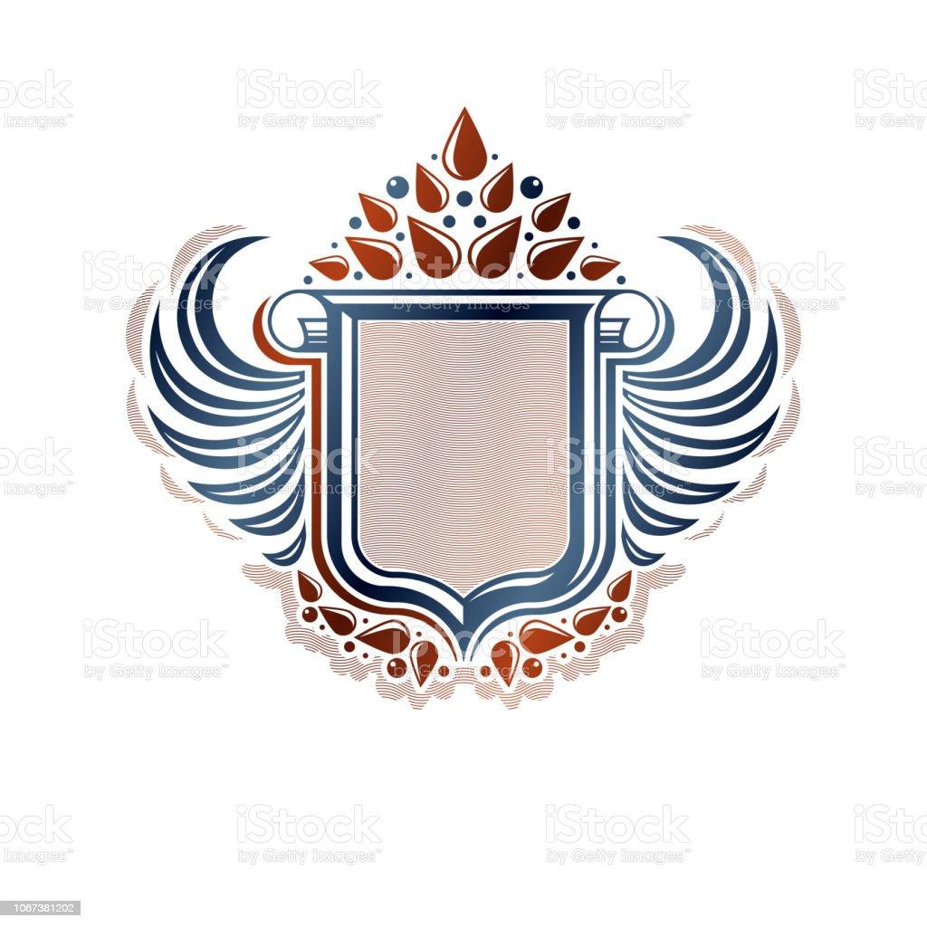 Em branco heráldica brasão emblema decorativa com cópia espaço e cartucho. Emblema do escudo de proteção alado vazio criado com flor de lírio, isolados de ilustração vetorial. - ilustração de arte em vetor