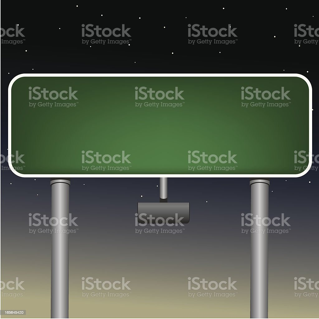 Blank Highway Sign at Night royalty-free stock vector art