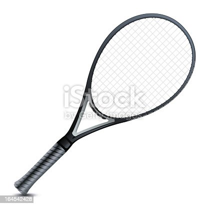 istock Blank image of a professional's grey tennis racket 164542428
