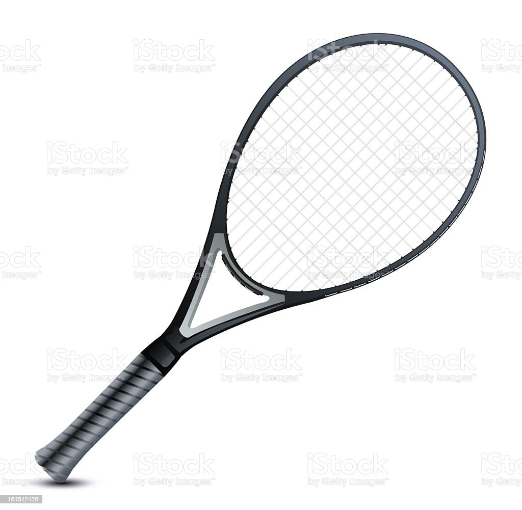 Blank image of a professional's grey tennis racket vector art illustration