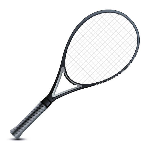 Blank image of a professional's grey tennis racket Vector Detailed Tennis racket.  racket stock illustrations