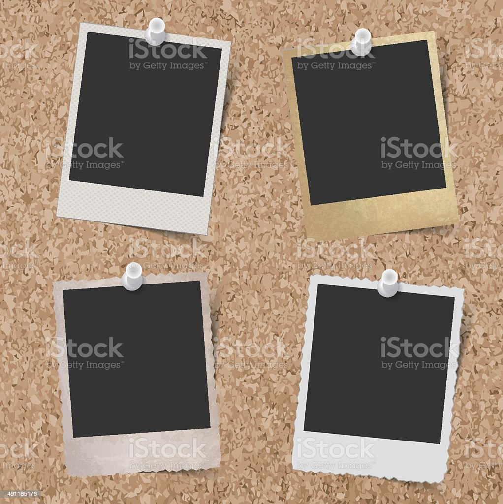 Blank instant photo frames pinned to cork board background vector art illustration