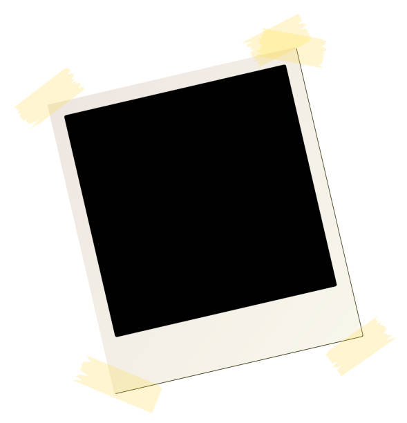 blank instant picture frame affixed with sticky tape blank instant picture frame affixed with sticky tape polaroid frame stock illustrations