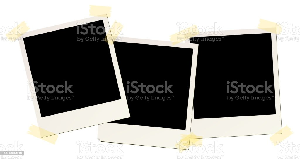 3 blank instant picture frames affixed with sticky tape vector art illustration