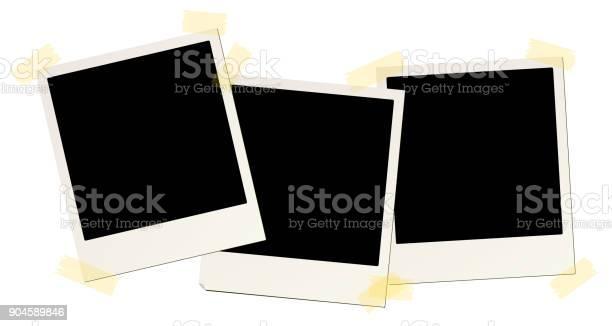 3 Leere Instant Bilderrahmen Mit Klebeband Angebracht Stock Vektor Art und mehr Bilder von Alt