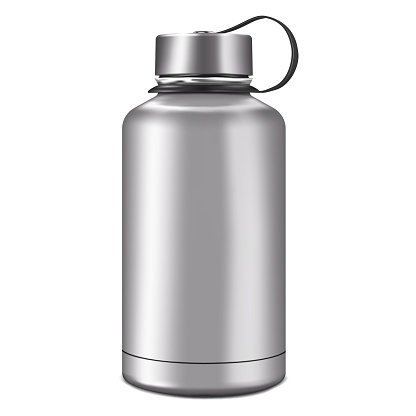 Blank insulated water bottle isolated on white background, realistic vector mock-up. Stainless steel shiny metal sport flask, mockup. Template for design