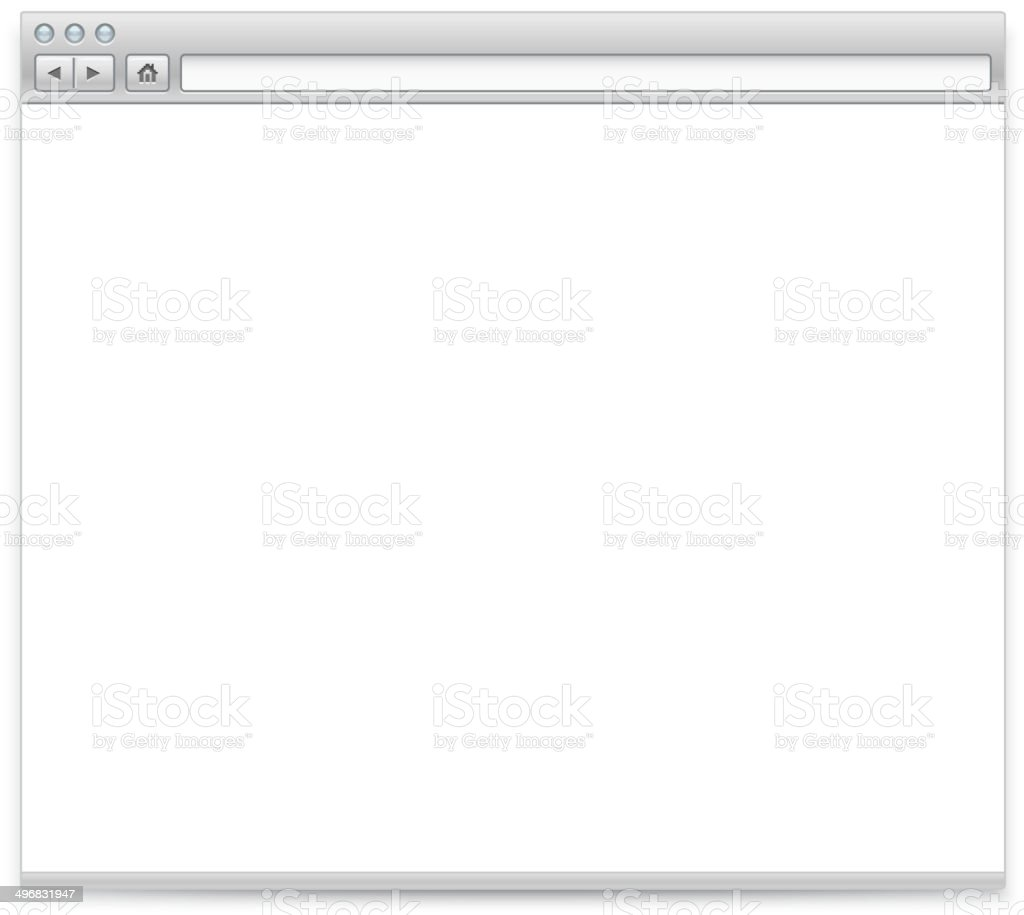 Blank Internet browser on white background vector art illustration
