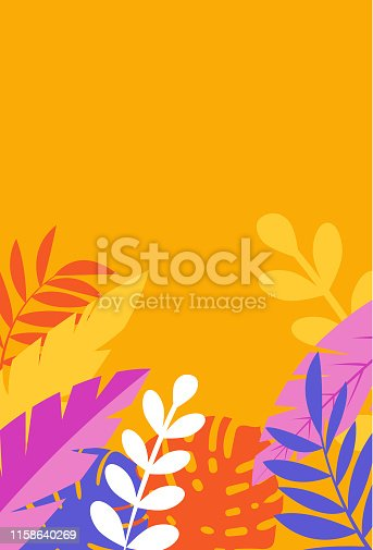 Backgrounds with tropical tree leaves in vector