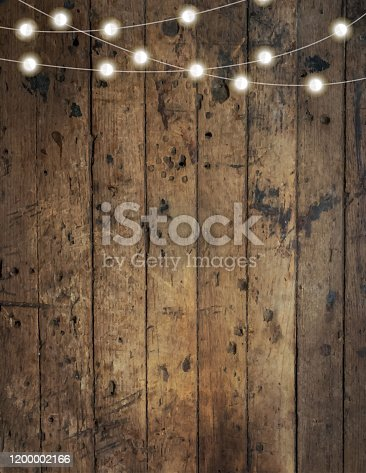 Vector illustration of a Blank invitation design template with wooden background with string lights. Easy to edit.