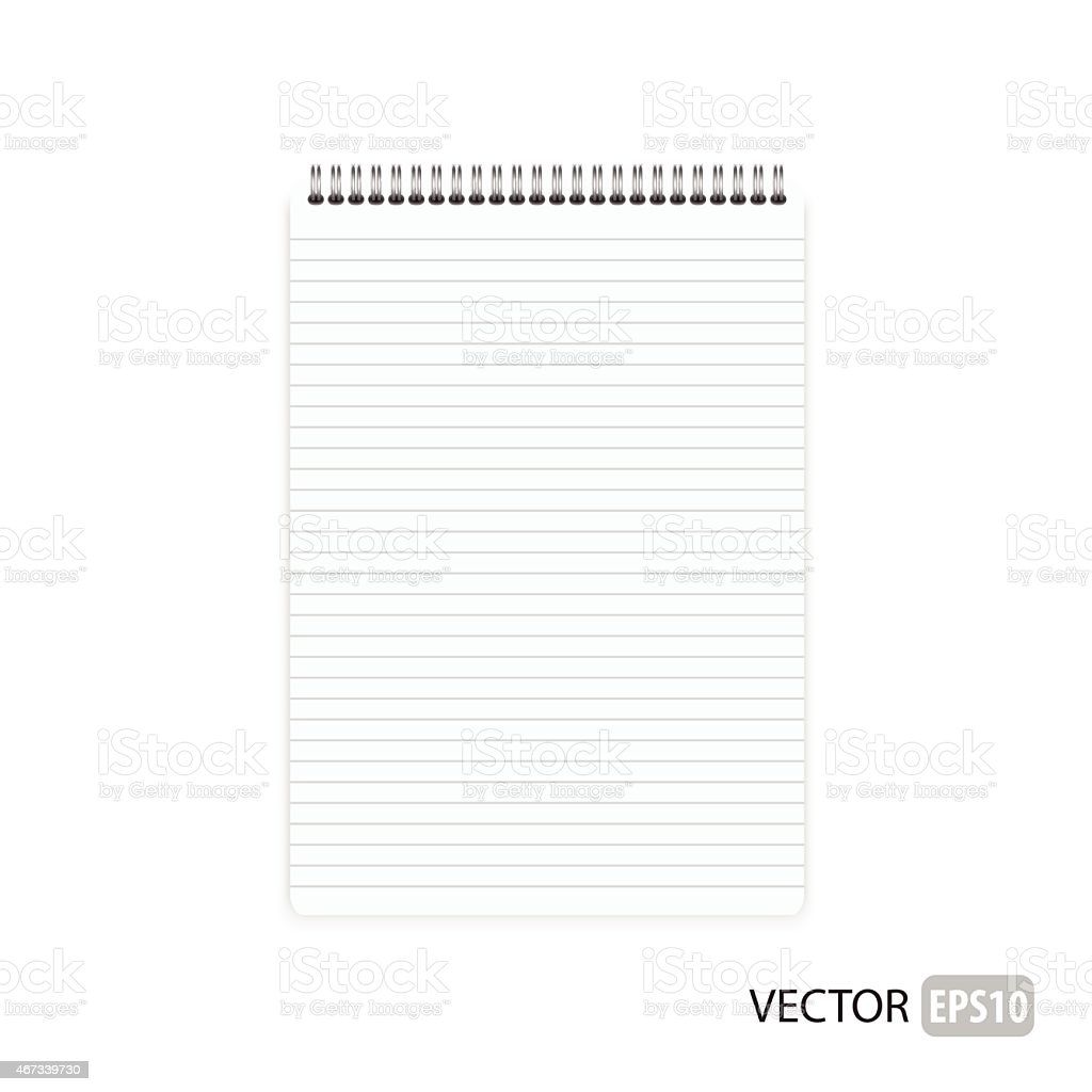 Blank isolated notepad vector. vector art illustration