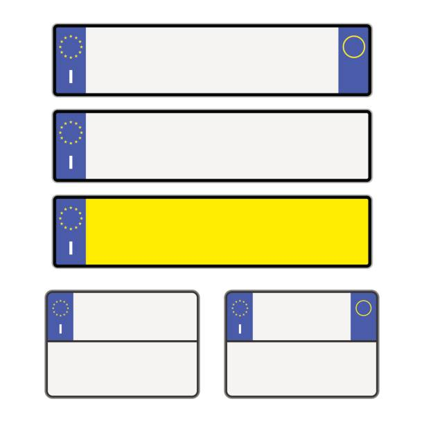 leere italienische nummernschilder - nummernschilder stock-grafiken, -clipart, -cartoons und -symbole