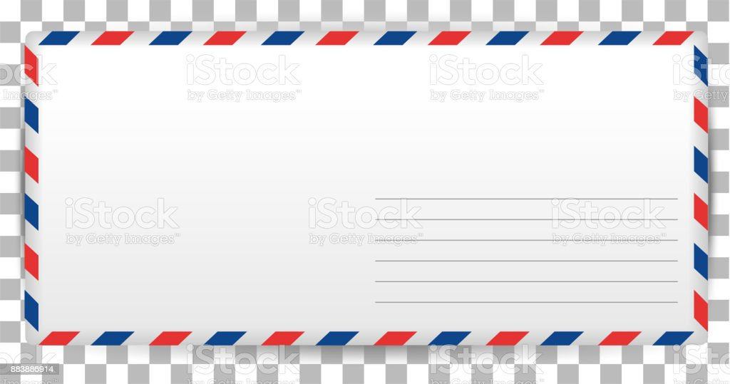Blank Letter Template Of Santa Claus On Transparent Background. Envelope  For Writing Airmail Royalty