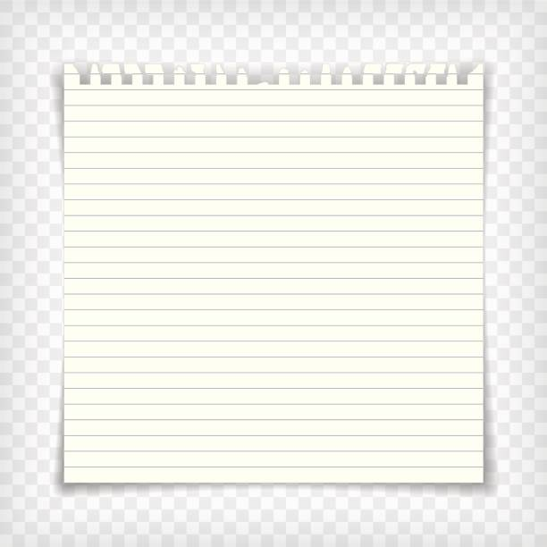 blank lined note book page with torn edge - lined paper stock illustrations