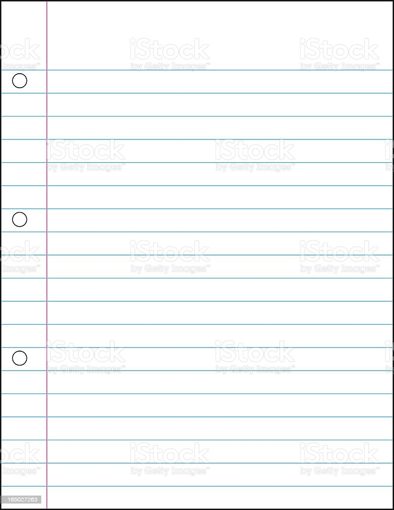 Blank lined notebook paper with three holes in the margin vector art illustration