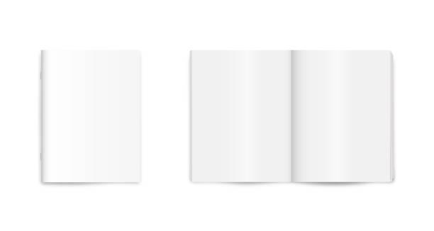 pusty magazyn, czasopismo, gazeta, makieta notebooka na białym tle. - broszura stock illustrations