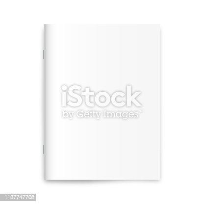 Blank magazine, newspaper, notebook mockup on white background. Vector illustration.
