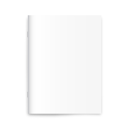 Blank magazine, newspaper, notebook mockup on white background.