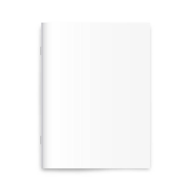 blank magazine, newspaper, notebook mockup on white background. - pustka stock illustrations