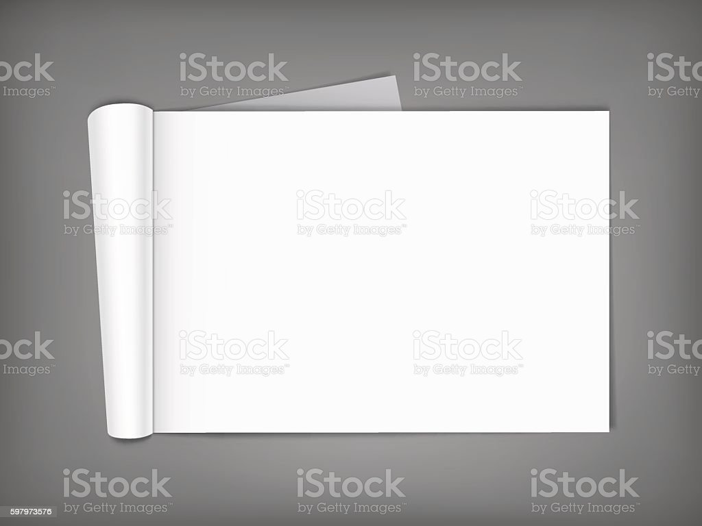 Blank magazine with rolled pages. vector art illustration