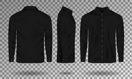 Blank Male Black Shirt Template Realistic Men Shirt With ...