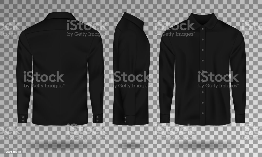 blank male black shirt template realistic men shirt with long sleeves front side back view