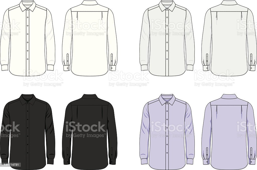 Blank male shirt vector art illustration
