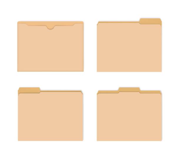 leere manila-dateijacken mit verschiedenen geschnittenen tabs, vektormockup-set - folder stock-grafiken, -clipart, -cartoons und -symbole