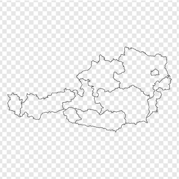 bildbanksillustrationer, clip art samt tecknat material och ikoner med tom karta österrike. hög kvalitet karta österrike med provinser på transparent bakgrund för din webbdesign, logotyp, app, ui. lager vektor. vektorillustration eps10. - salzburg