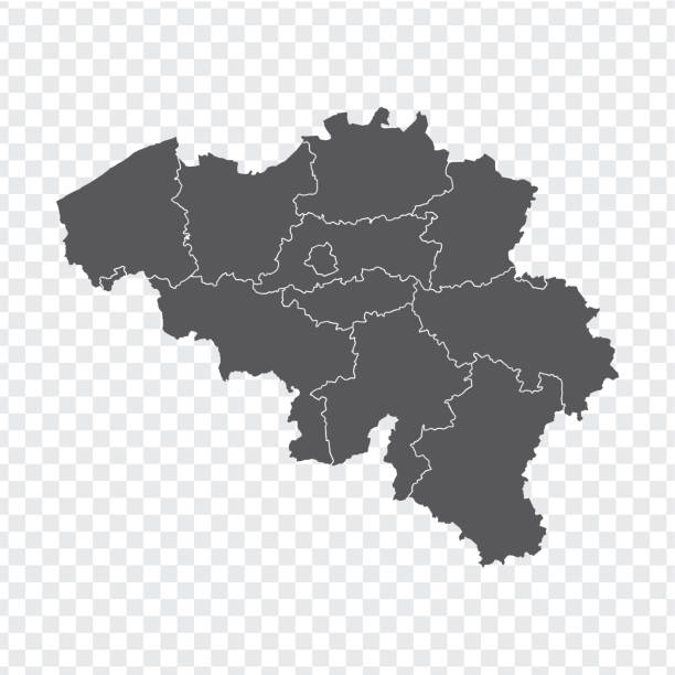 Blank map Belgium. High quality map Belgium with provinces on transparent background for your web site design, logo, app, UI. Stock vector. Vector illustration EPS10. Blank map Belgium. High quality map Belgium with provinces on transparent background for your web site design, logo, app, UI. Stock vector. Vector illustration EPS10. lulik stock illustrations