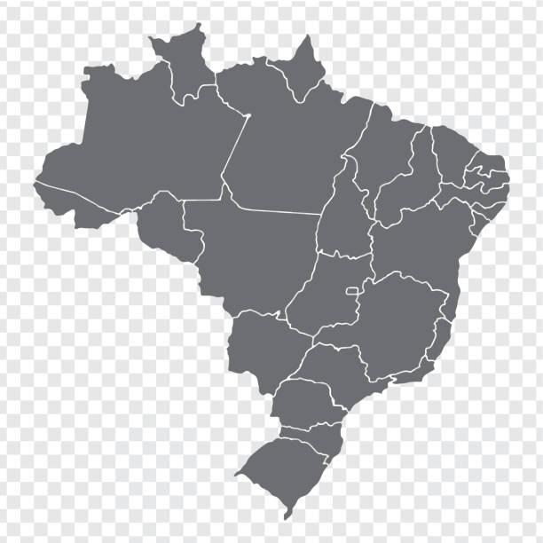 ilustrações, clipart, desenhos animados e ícones de mapa em branco brasil. mapa de alta qualidade brasil com províncias em fundo transparente para seu projeto de web site, logotipo, app, interface do usuário. vetor de estoque. ilustração em vetor eps10. - brazil