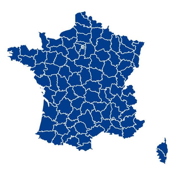 pusta mapa francja. mapy departamentów francji. wysoka szczegółowa niebieska mapa wektorowa francji na białym tle dla projektu witryny sieci web, logo, aplikacji, interfejsu użytkownika. wektor zapasów. eps10. - francja stock illustrations