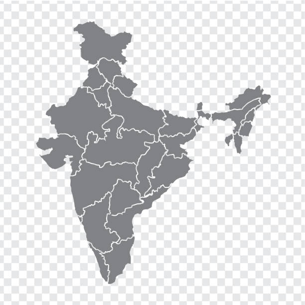 Blank map India. High quality map India with provinces on transparent background for your web site design, logo, app, UI. Stock vector. Vector illustration EPS10. Blank map India. High quality map India with provinces on transparent background for your web site design, logo, app, UI. Stock vector. Vector illustration EPS10. india stock illustrations