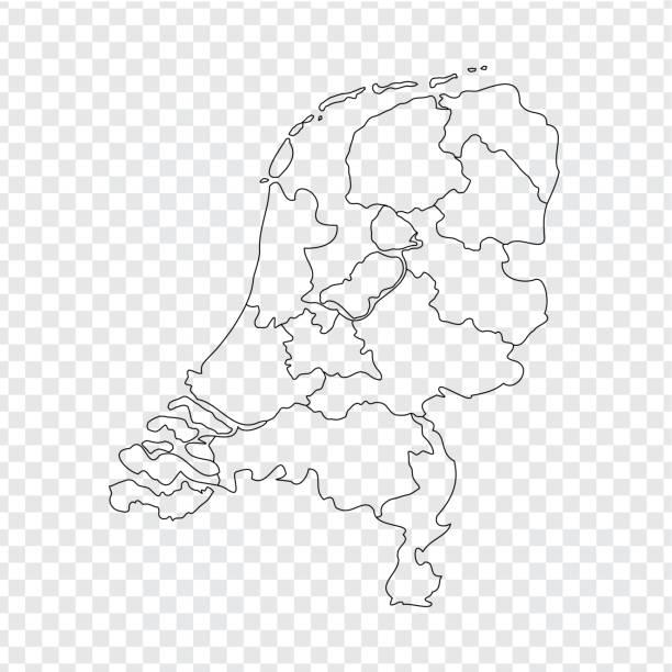 stockillustraties, clipart, cartoons en iconen met lege kaart nederland. hoge kwaliteit kaart koninkrijk van nederland met provincies op transparante achtergrond voor uw websiteontwerp, logo, app, ui. voorraad vector. vectorillustratie eps10. - den haag