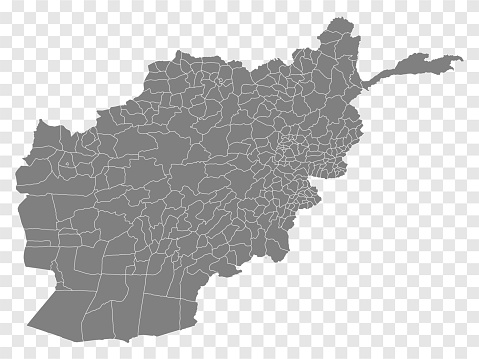 Blank map  of  Afghanistan. Districts of  Afghanistan map. High detailed vector map  Republic of Afghanistan on transparent background for your web site design, logo, app, UI.  EPS10.