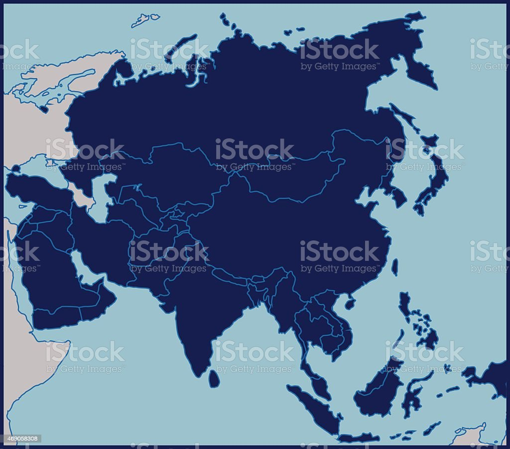 Blank Map of Asia vector art illustration