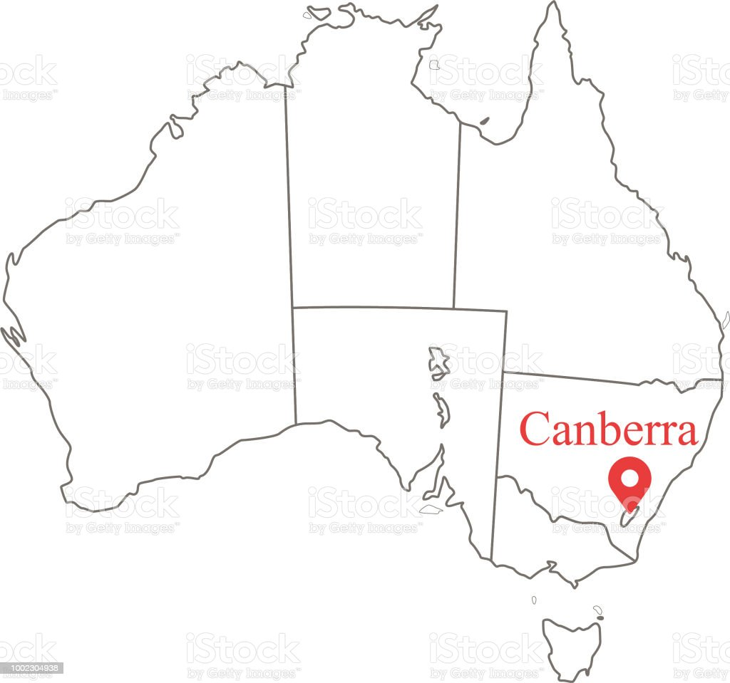Australia Map Canberra.Blank Map Of Australia With States And Territories Borders Vector
