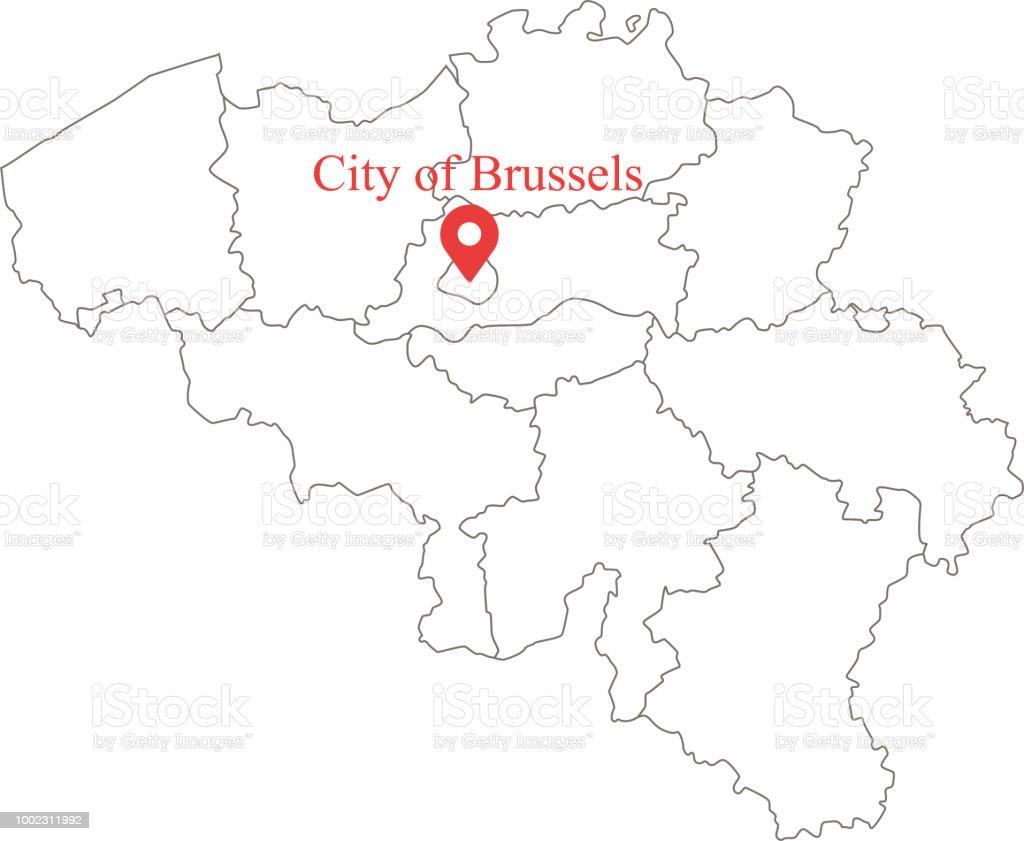 Belgien Karte Umriss.Leere Karte Von Belgien Mit Provinzen Grenzt Umriss Vektor Und