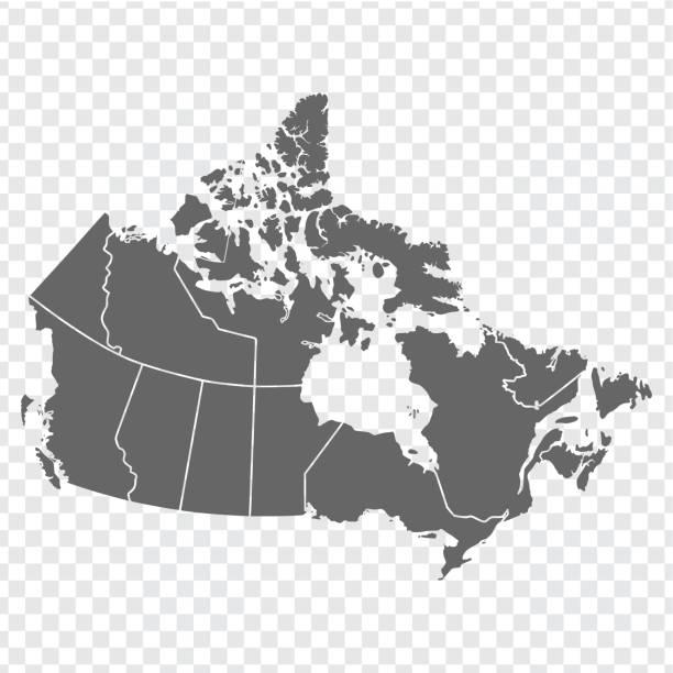 pusta mapa kanady. wysokiej jakości mapa kanady z prowincjami na przezroczystym tle dla projektu witryny internetowej, logo, aplikacji, interfejsu użytkownika. ameryce. eps10. - kanada stock illustrations