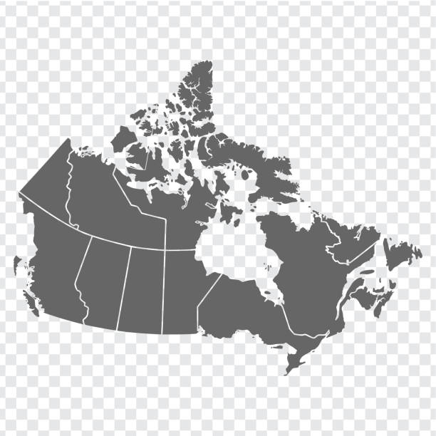 Blank map of Canada. High quality map of  Canada with provinces on transparent background for your web site design, logo, app, UI. America. EPS10. Blank map of Canada. High quality map of  Canada with provinces on transparent background for your web site design, logo, app, UI. America. EPS10. canada stock illustrations