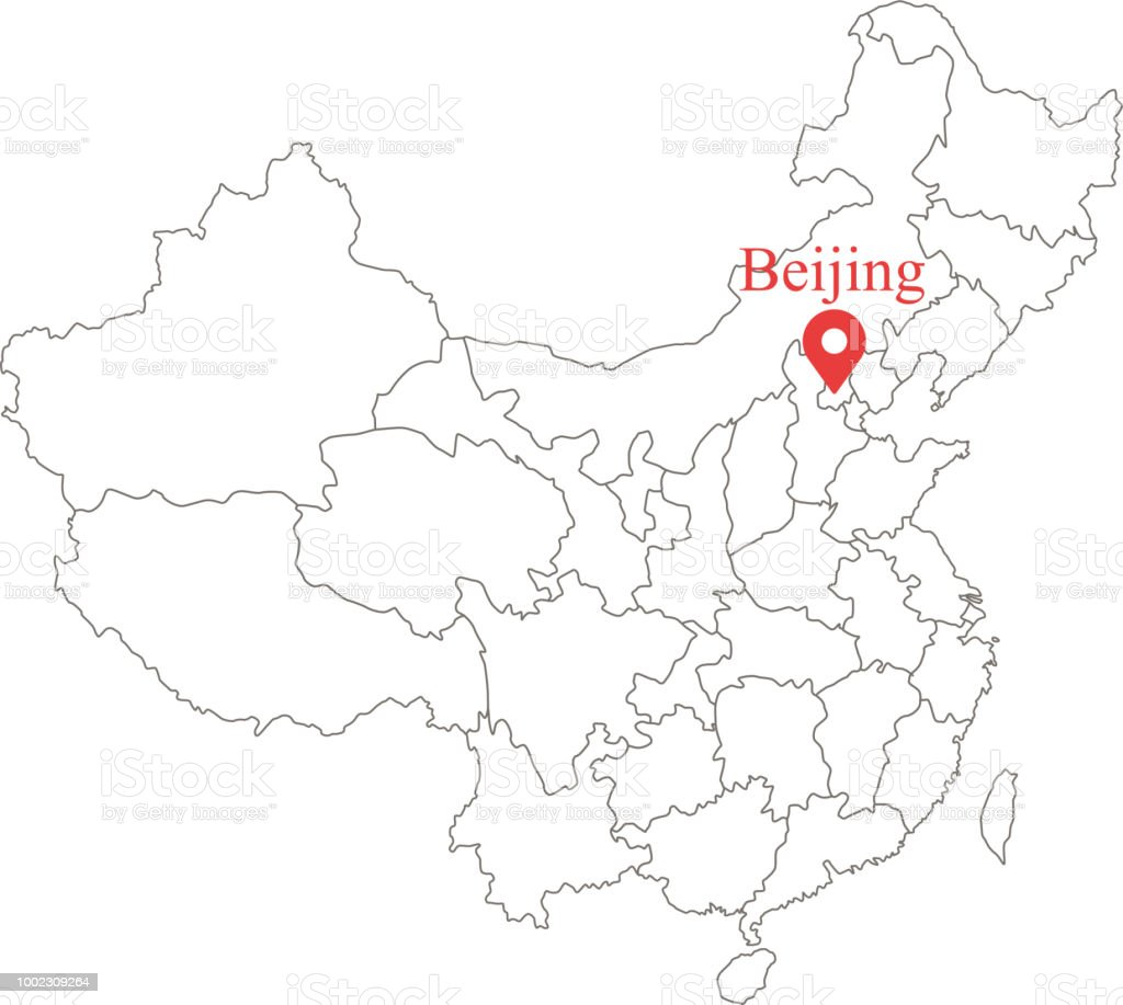 Blank Map Of China Provinces.Blank Map Of China With Provinces Border Vector Illustration And